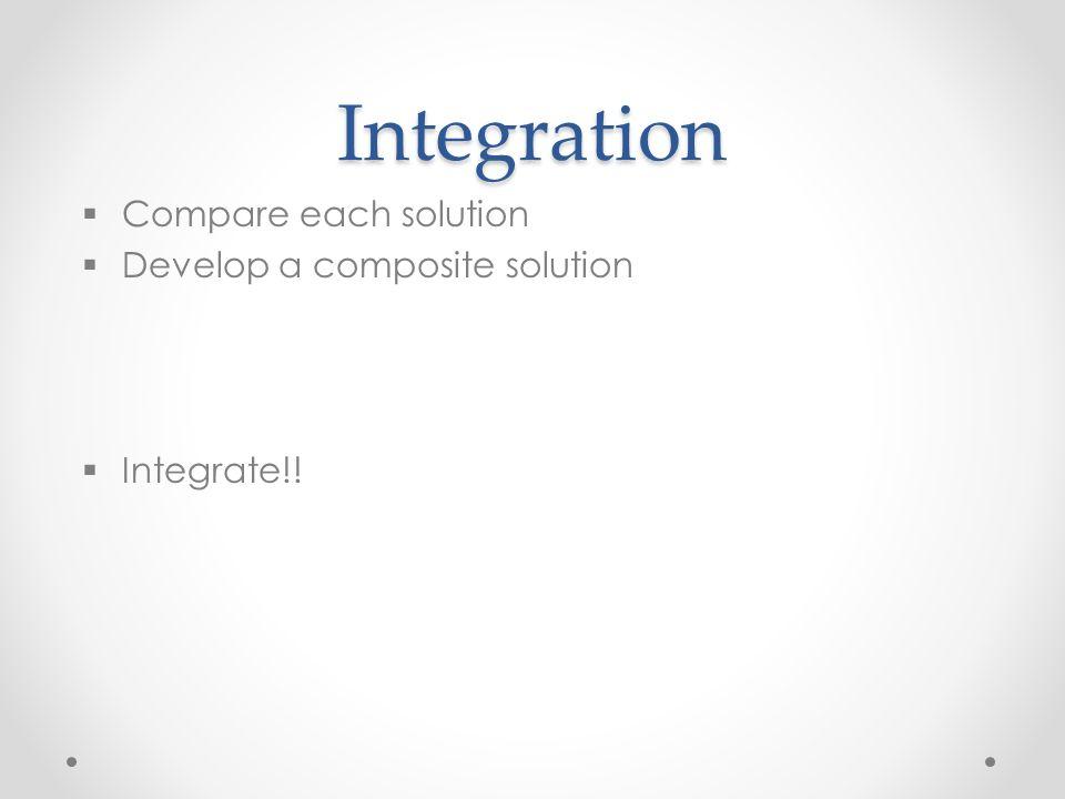 Integration  Compare each solution  Develop a composite solution  Integrate!!