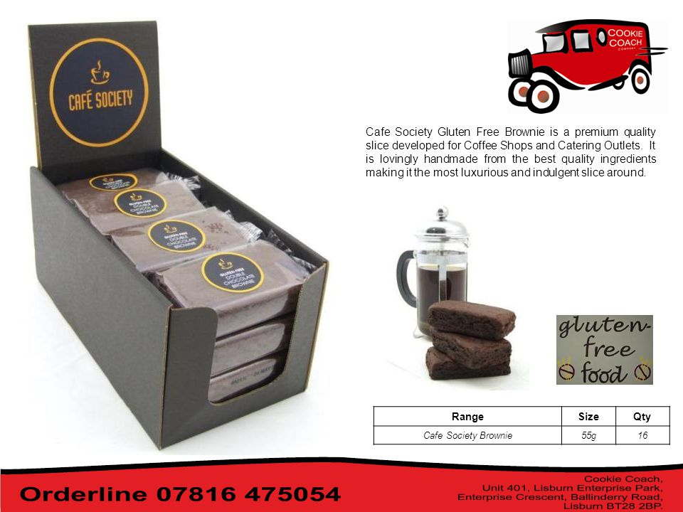 Cafe Society Gluten Free Brownie is a premium quality slice developed for Coffee Shops and Catering Outlets.