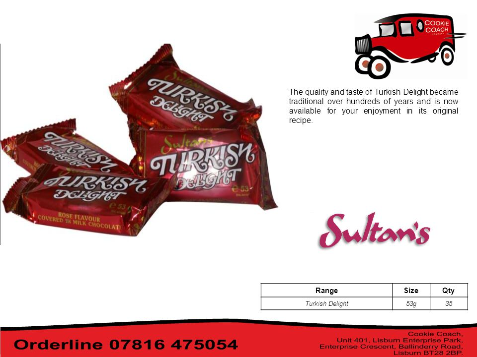 The quality and taste of Turkish Delight became traditional over hundreds of years and is now available for your enjoyment in its original recipe.