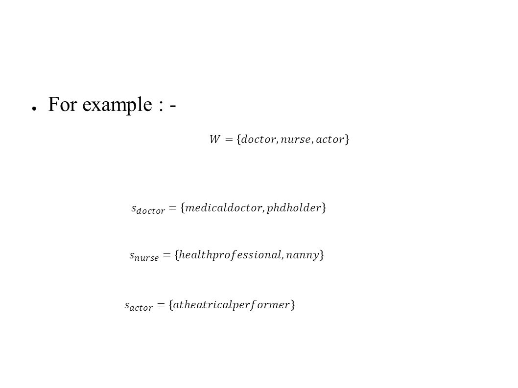 ● For each word pair, we find the nearest ancestor(c 1,2 ) and the word similarity value(v 1,2 ).