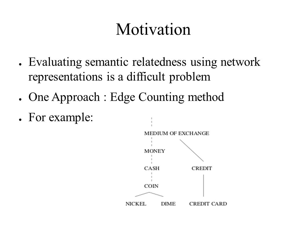 Motivation ● Evaluating semantic relatedness using network representations is a difficult problem ● One Approach : Edge Counting method ● For example:
