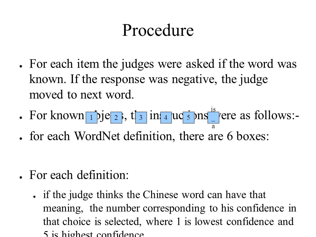 Procedure ● For each item the judges were asked if the word was known.