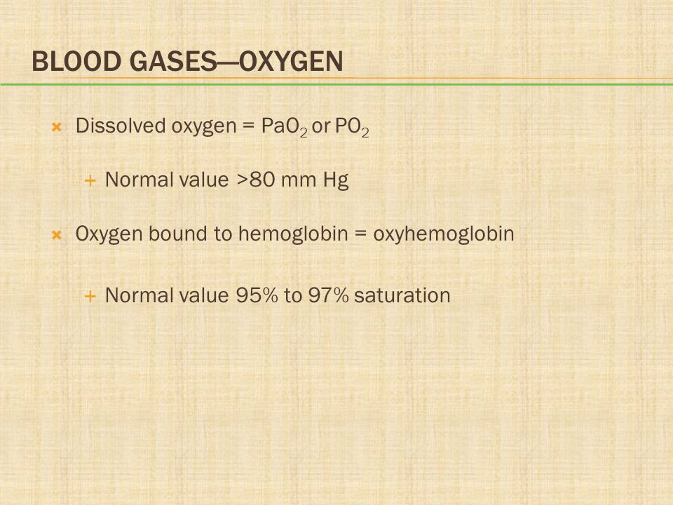 BLOOD GASES—OXYGEN  Dissolved oxygen = PaO 2 or PO 2  Normal value >80 mm Hg  Oxygen bound to hemoglobin = oxyhemoglobin  Normal value 95% to 97%