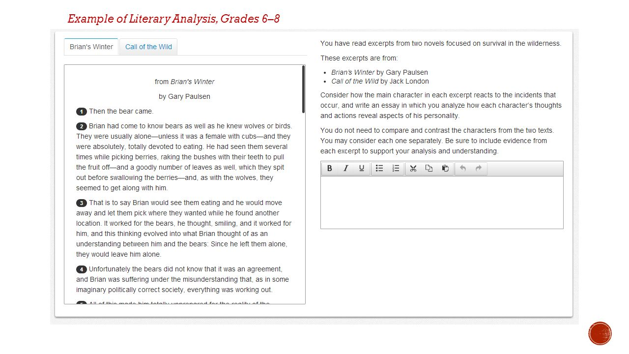 Example of Literary Analysis, Grades 6–8