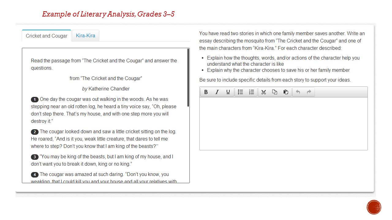 Example of Literary Analysis, Grades 3–5