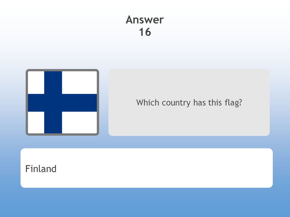 Answer 16 Which country has this flag? Finland