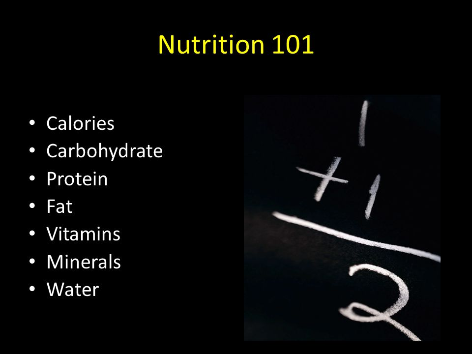 Nutrition 101 Calories Carbohydrate Protein Fat Vitamins Minerals Water