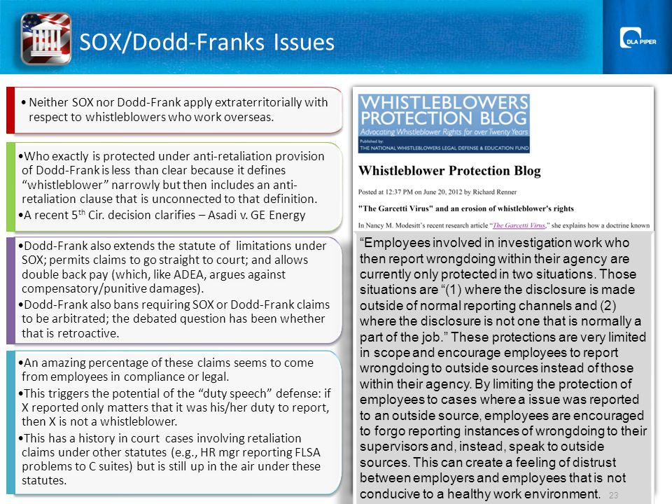 SOX/Dodd-Franks Issues Employees involved in investigation work who then report wrongdoing within their agency are currently only protected in two situations.