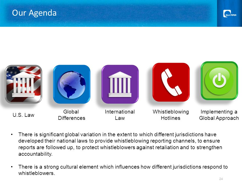 U.S. Law Global Differences Whistleblowing Hotlines Implementing a Global Approach Our Agenda 24 International Law There is significant global variati