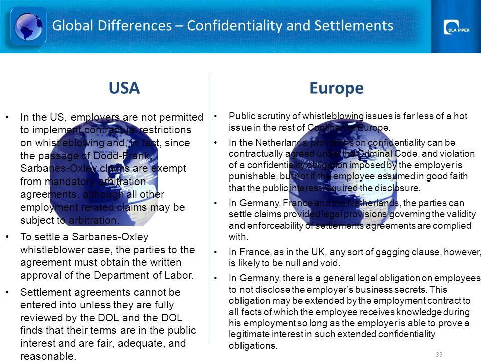 Global Differences – Confidentiality and Settlements EuropeUSA Public scrutiny of whistleblowing issues is far less of a hot issue in the rest of Continental Europe.