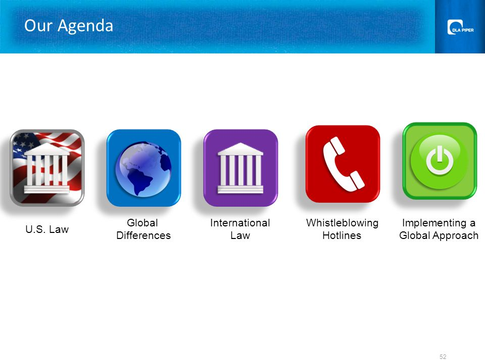 U.S. Law Global Differences Whistleblowing Hotlines Implementing a Global Approach Our Agenda 52 International Law