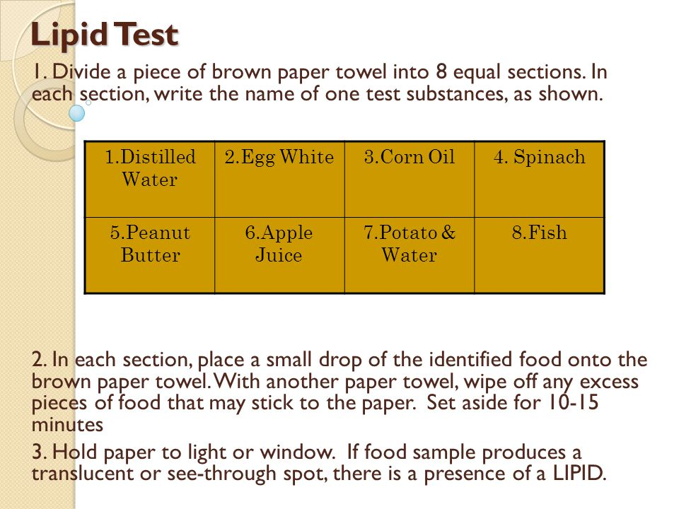Lipid Test 1.Divide a piece of brown paper towel into 8 equal sections.