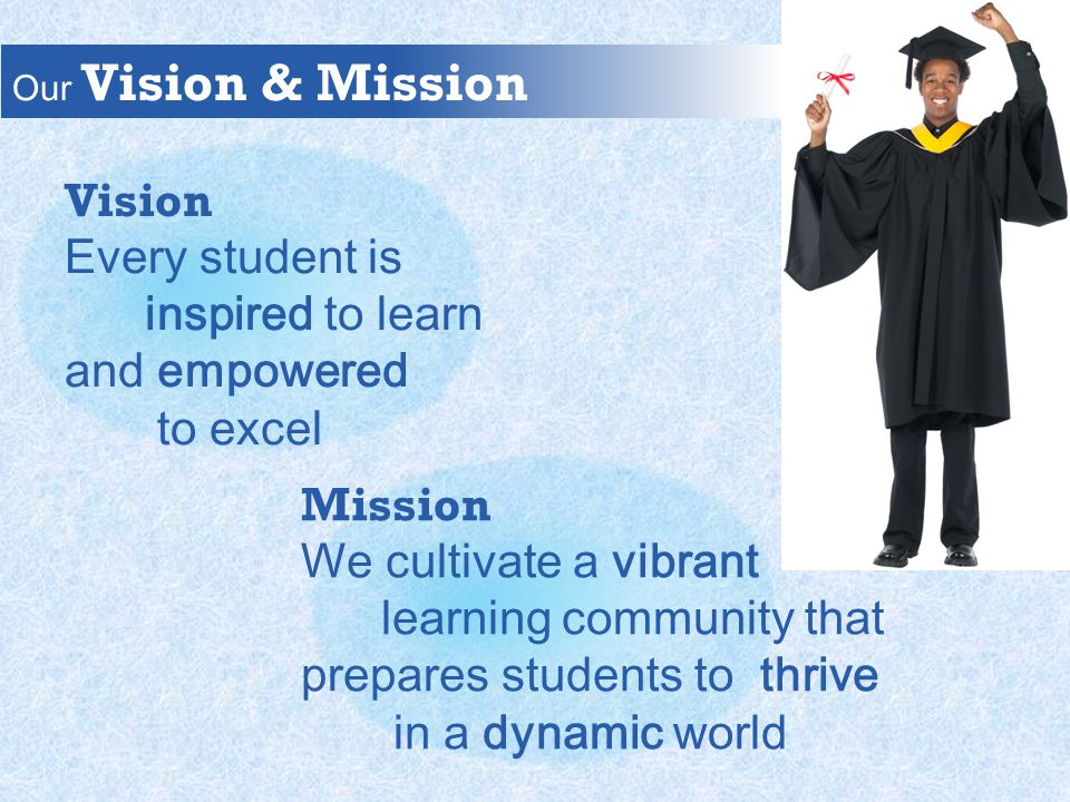 Our Vision & Mission Vision Every student is inspired to learn and empowered to excel Mission We cultivate a vibrant learning community that prepares students to thrive in a dynamic world