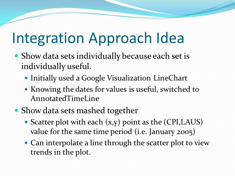 Integration Approach Idea Show data sets individually because each set is individually useful.