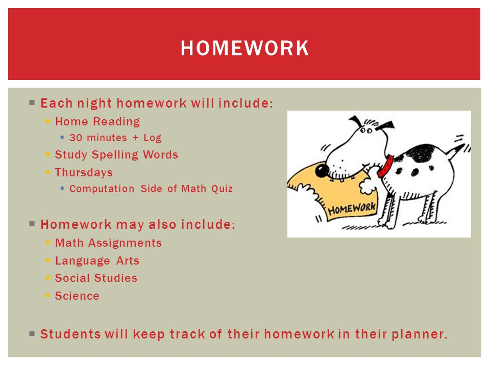  Each night homework will include:  Home Reading  30 minutes + Log  Study Spelling Words  Thursdays  Computation Side of Math Quiz  Homework ma