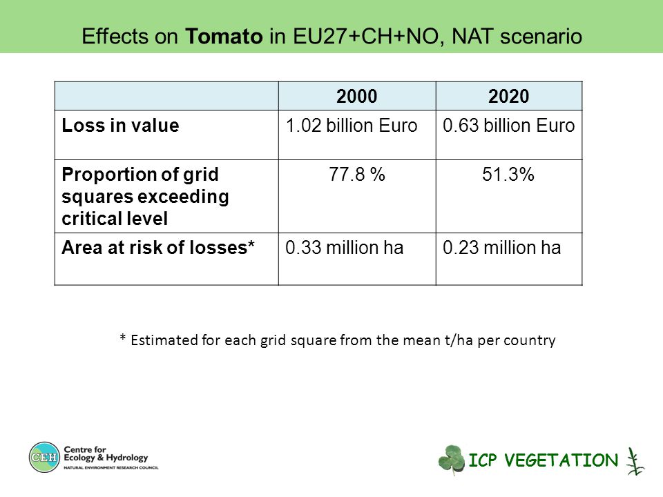 20002020 Loss in value1.02 billion Euro0.63 billion Euro Proportion of grid squares exceeding critical level 77.8 %51.3% Area at risk of losses*0.33 million ha0.23 million ha * Estimated for each grid square from the mean t/ha per country Effects on Tomato in EU27+CH+NO, NAT scenario ICP VEGETATION