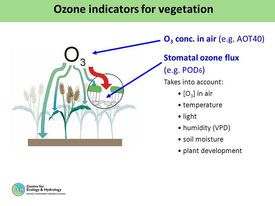 O 3 conc. in air (e.g. AOT40) Stomatal ozone flux (e.g. POD 6 ) Takes into account: [O 3 ] in air temperature light humidity (VPD) soil moisture plant