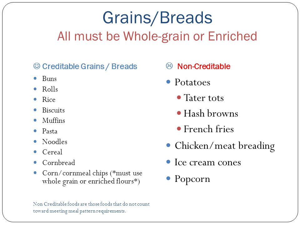Grains/Breads All must be Whole-grain or Enriched Creditable Grains / Breads  Non-Creditable Non Creditable foods are those foods that do not count t