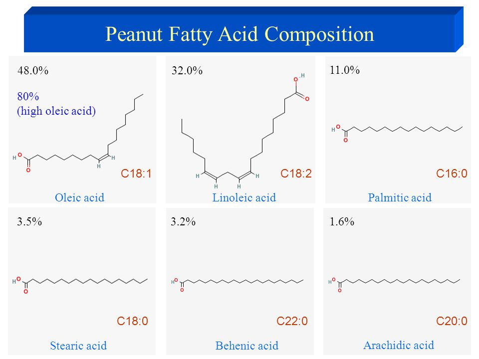 Linoleic acid 32.0% Oleic acid 48.0% Stearic acid 3.5% Palmitic acid 11.0% C18:1C18:2C16:0 C18:0 3.2% Behenic acid C22:0 1.6% Arachidic acid C20:0 80% (high oleic acid) Peanut Fatty Acid Composition