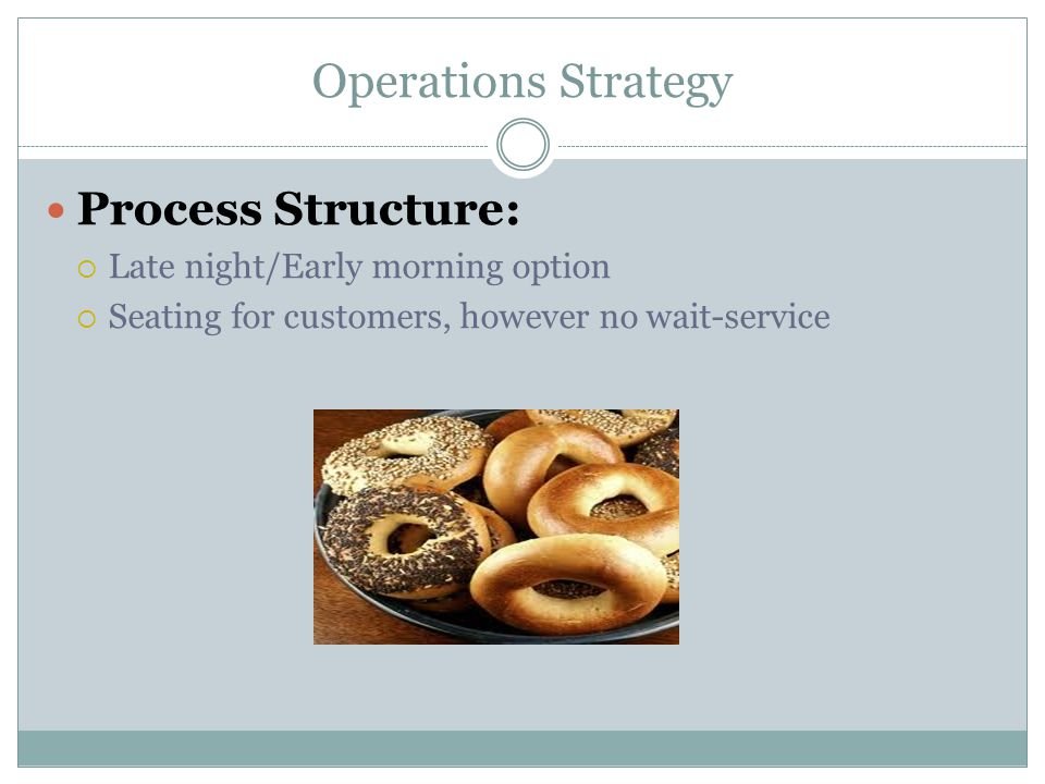 Operations Strategy Process Structure:  Late night/Early morning option  Seating for customers, however no wait-service