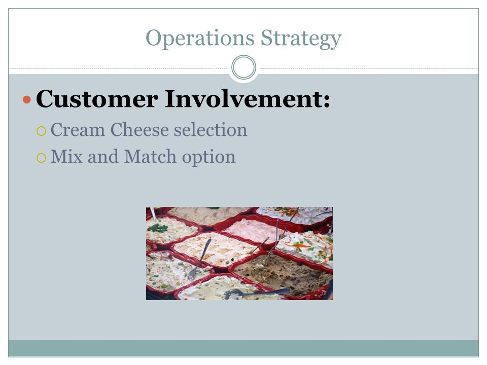 Operations Strategy Customer Involvement:  Cream Cheese selection  Mix and Match option