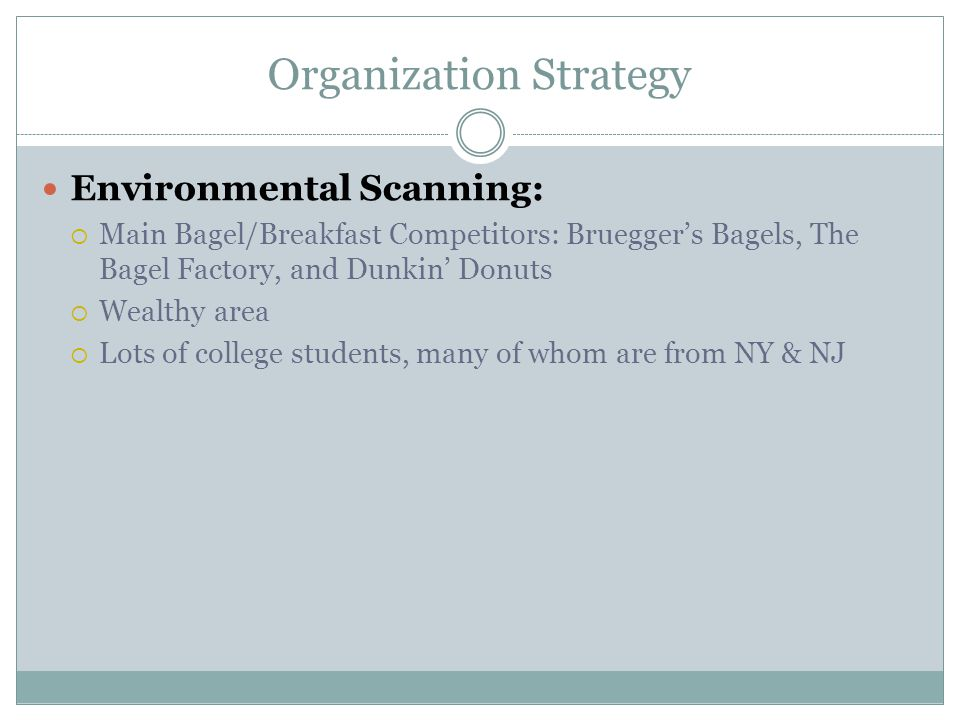 Organization Strategy Environmental Scanning:  Main Bagel/Breakfast Competitors: Bruegger's Bagels, The Bagel Factory, and Dunkin' Donuts  Wealthy a