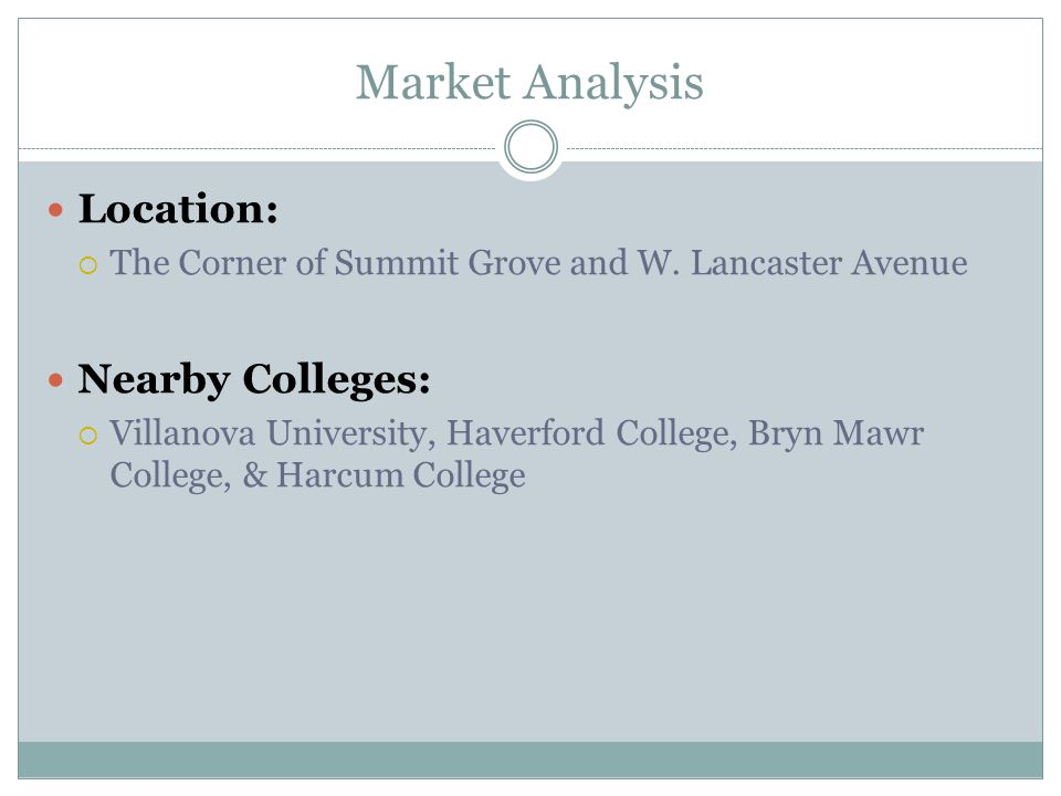 Market Analysis Location:  The Corner of Summit Grove and W. Lancaster Avenue Nearby Colleges:  Villanova University, Haverford College, Bryn Mawr C