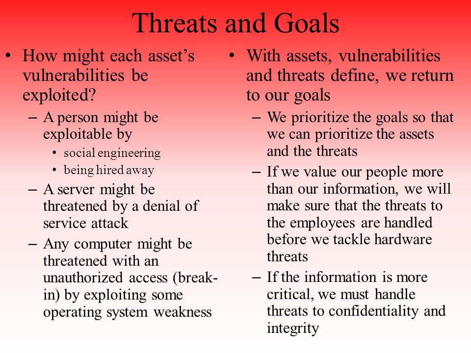 Threats and Goals How might each asset's vulnerabilities be exploited.