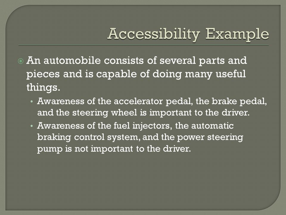  An automobile consists of several parts and pieces and is capable of doing many useful things. Awareness of the accelerator pedal, the brake pedal,