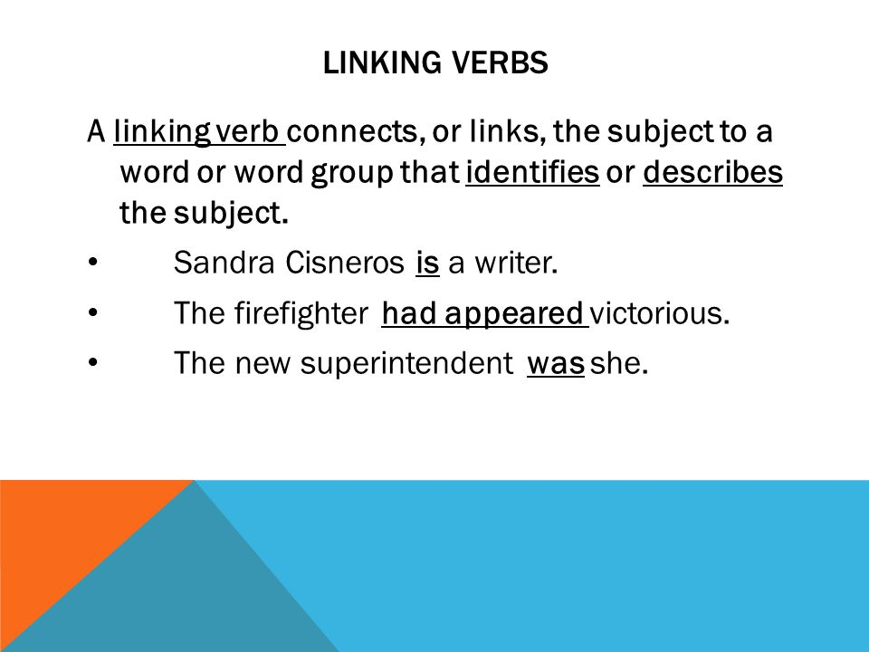 LINKING VERBS A linking verb connects, or links, the subject to a word or word group that identifies or describes the subject. Sandra Cisneros is a wr