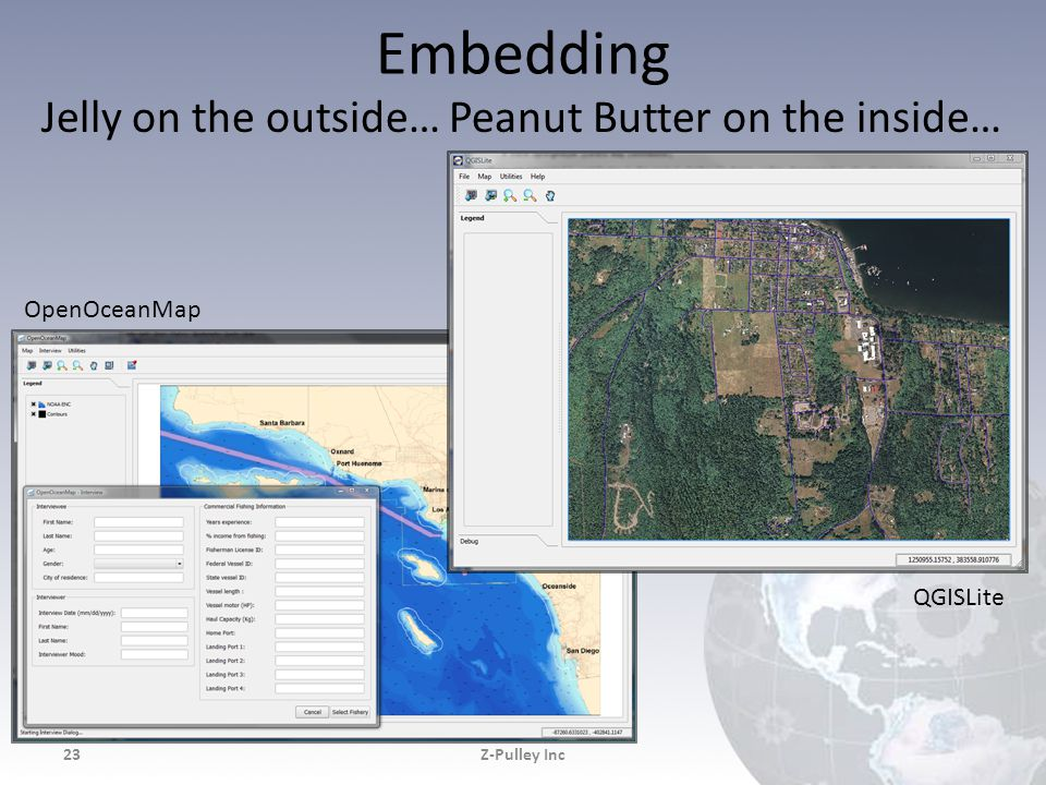 Embedding Jelly on the outside… Peanut Butter on the inside… Z-Pulley Inc23 OpenOceanMap QGISLite