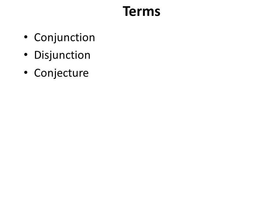 Conjunction Disjunction Conjecture P. 1 Terms