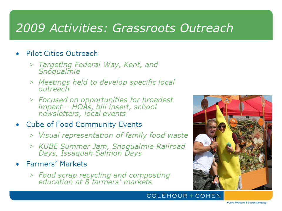 2009 Activities: Grassroots Outreach Pilot Cities Outreach > Targeting Federal Way, Kent, and Snoqualmie > Meetings held to develop specific local outreach > Focused on opportunities for broadest impact – HOAs, bill insert, school newsletters, local events Cube of Food Community Events > Visual representation of family food waste > KUBE Summer Jam, Snoqualmie Railroad Days, Issaquah Salmon Days Farmers' Markets > Food scrap recycling and composting education at 8 farmers' markets