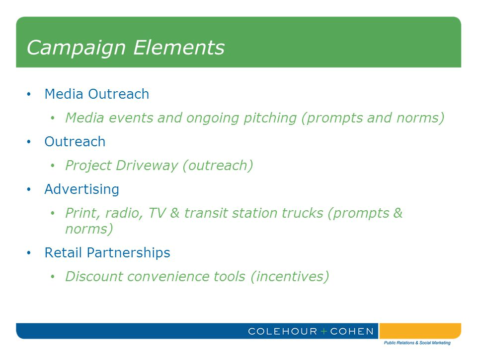 Campaign Elements Media Outreach Media events and ongoing pitching (prompts and norms) Outreach Project Driveway (outreach) Advertising Print, radio, TV & transit station trucks (prompts & norms) Retail Partnerships Discount convenience tools (incentives)