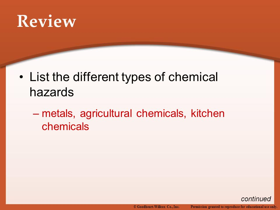 Permission granted to reproduce for educational use only.© Goodheart-Willcox Co., Inc. Review List the different types of chemical hazards –metals, ag