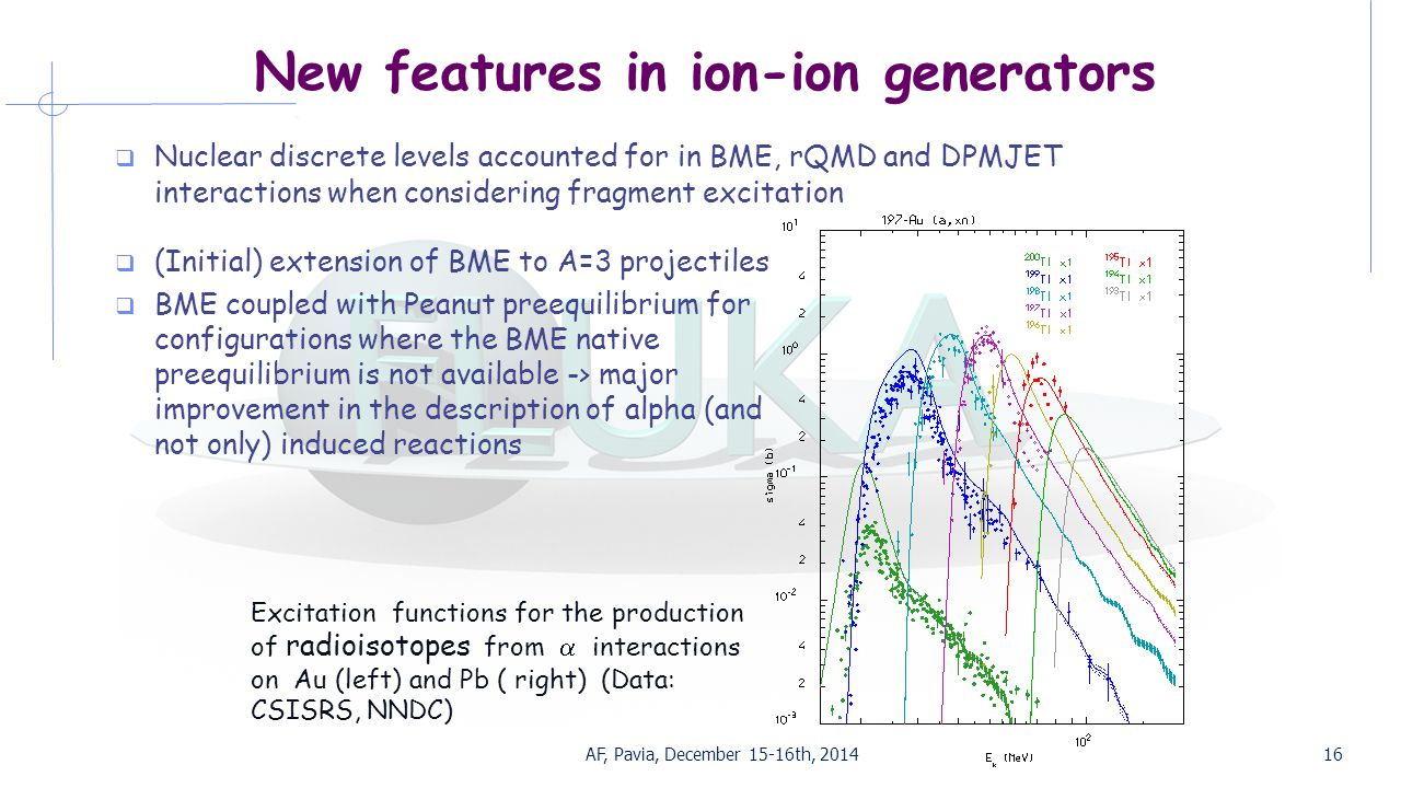 New features in ion-ion generators  Nuclear discrete levels accounted for in BME, rQMD and DPMJET interactions when considering fragment excitation AF, Pavia, December 15-16th, 201416  (Initial) extension of BME to A=3 projectiles  BME coupled with Peanut preequilibrium for configurations where the BME native preequilibrium is not available -> major improvement in the description of alpha (and not only) induced reactions Excitation functions for the production of radioisotopes from  interactions on Au (left) and Pb ( right) (Data: CSISRS, NNDC)