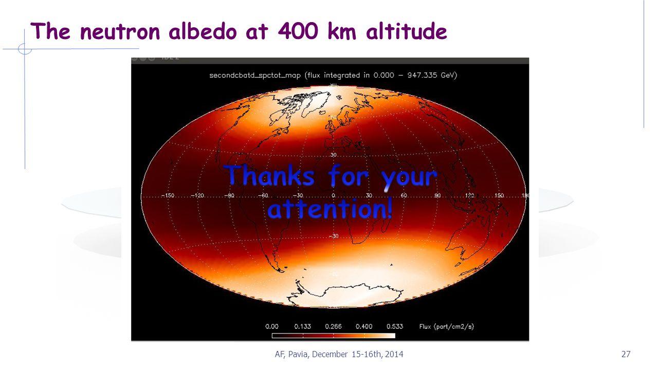 The neutron albedo at 400 km altitude AF, Pavia, December 15-16th, 201427
