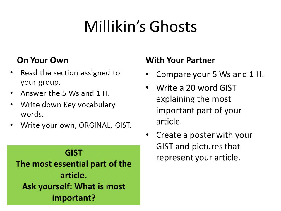 Millikin's Ghosts On Your Own Read the section assigned to your group.