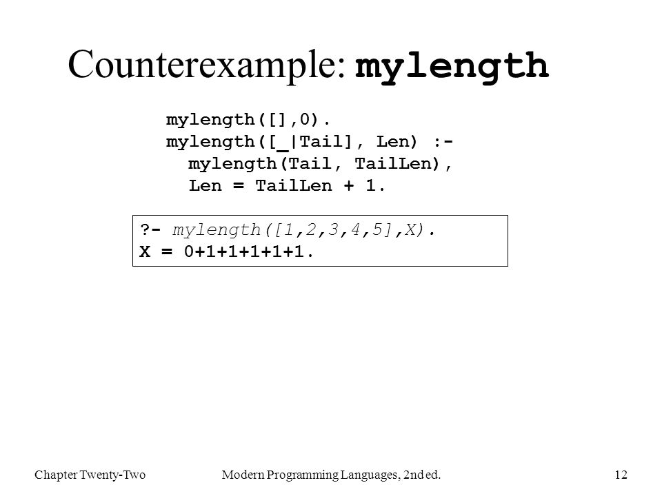 Counterexample: mylength Chapter Twenty-TwoModern Programming Languages, 2nd ed.12 mylength([],0).