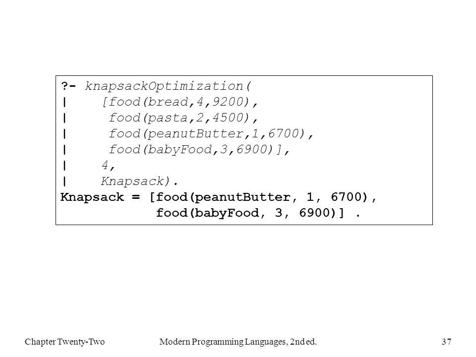 Chapter Twenty-TwoModern Programming Languages, 2nd ed.37 - knapsackOptimization( | [food(bread,4,9200), | food(pasta,2,4500), | food(peanutButter,1,6700), | food(babyFood,3,6900)], | 4, | Knapsack).