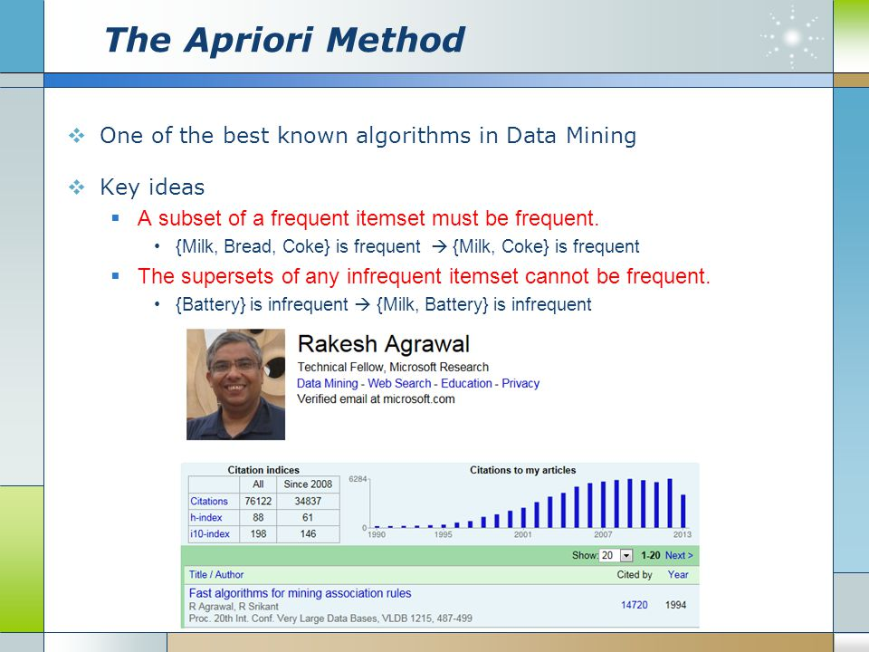 The Apriori Method  One of the best known algorithms in Data Mining  Key ideas  A subset of a frequent itemset must be frequent.