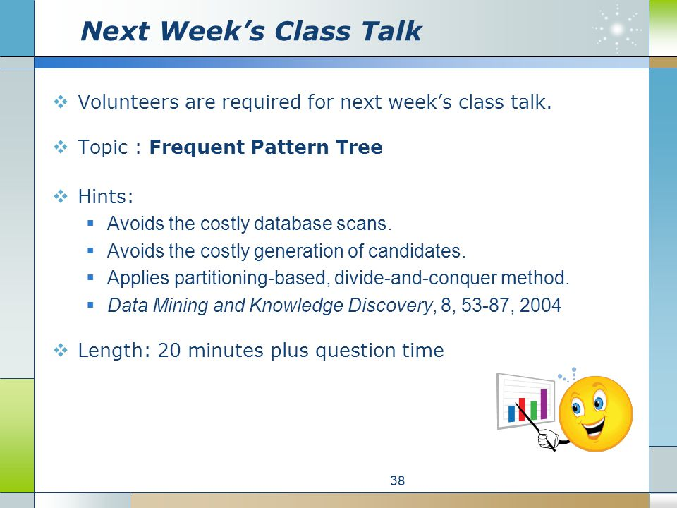 Next Week's Class Talk  Volunteers are required for next week's class talk.