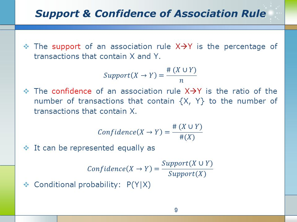 Support & Confidence of Association Rule 9