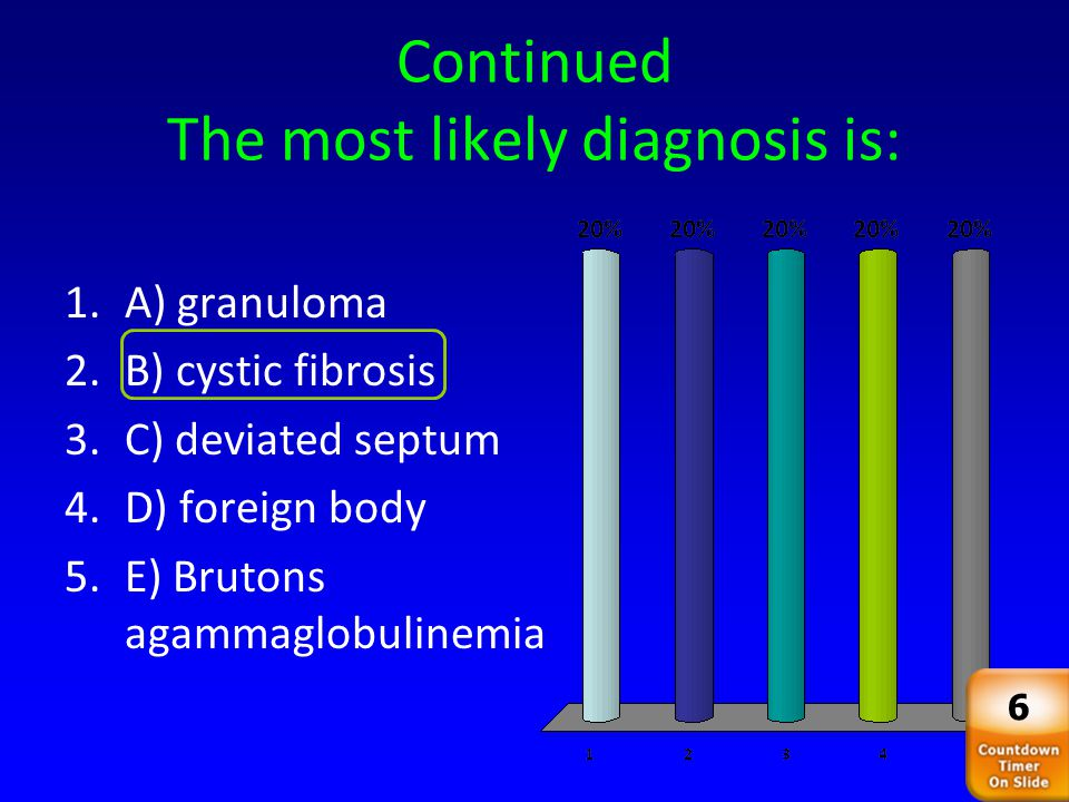 Continued The most likely diagnosis is: 35 1.A) granuloma 2.B) cystic fibrosis 3.C) deviated septum 4.D) foreign body 5.E) Brutons agammaglobulinemia
