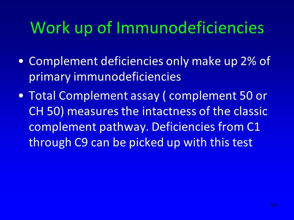 Work up of Immunodeficiencies Complement deficiencies only make up 2% of primary immunodeficiencies Total Complement assay ( complement 50 or CH 50) m