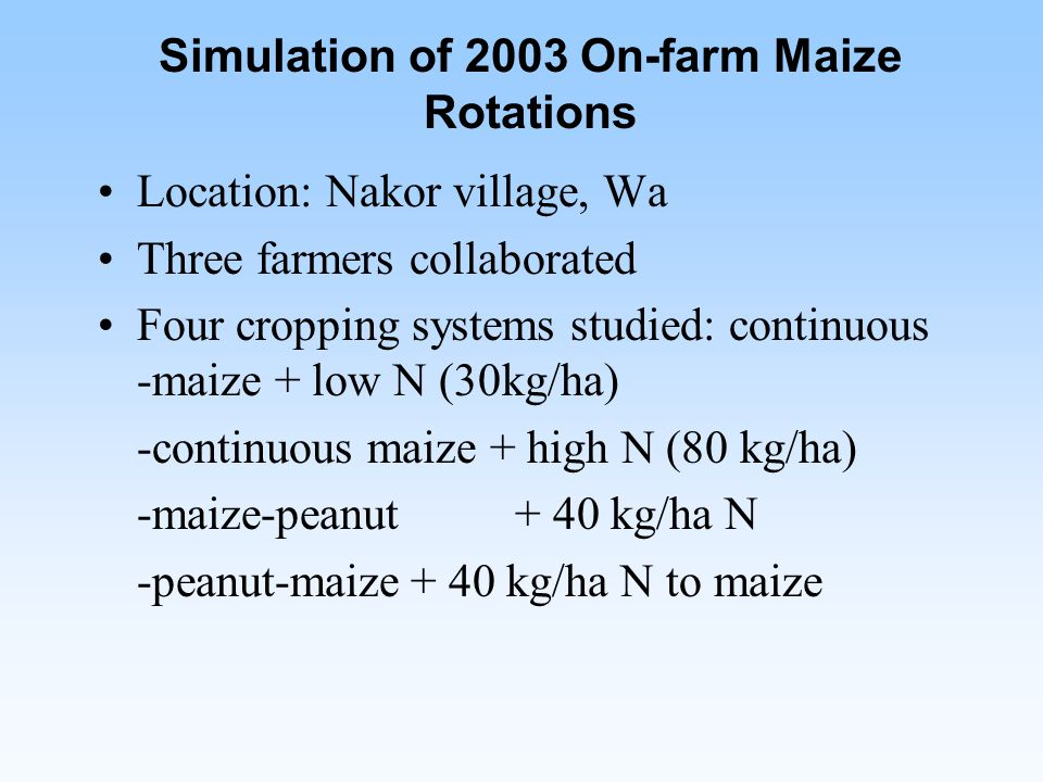Simulation of 2003 On-farm Maize Rotations Location: Nakor village, Wa Three farmers collaborated Four cropping systems studied: continuous -maize + low N (30kg/ha) -continuous maize + high N (80 kg/ha) -maize-peanut + 40 kg/ha N -peanut-maize+ 40 kg/ha N to maize