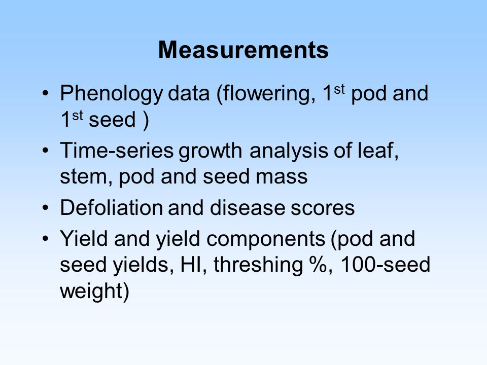 Measurements Phenology data (flowering, 1 st pod and 1 st seed ) Time-series growth analysis of leaf, stem, pod and seed mass Defoliation and disease scores Yield and yield components (pod and seed yields, HI, threshing %, 100-seed weight)