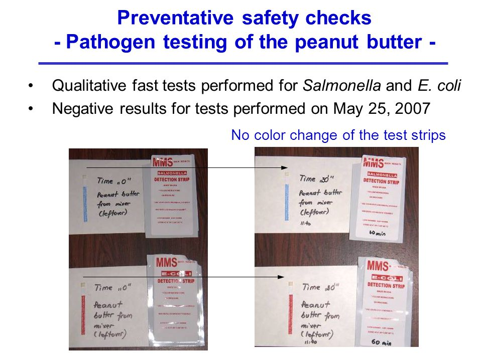 Preventative safety checks - Pathogen testing of the peanut butter - Qualitative fast tests performed for Salmonella and E.