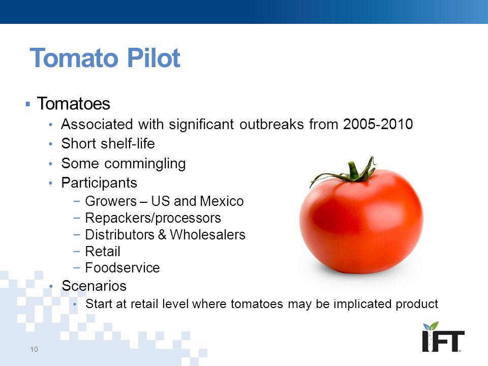 Tomato Pilot 10  Tomatoes Associated with significant outbreaks from 2005-2010 Short shelf-life Some commingling Participants −Growers – US and Mexic
