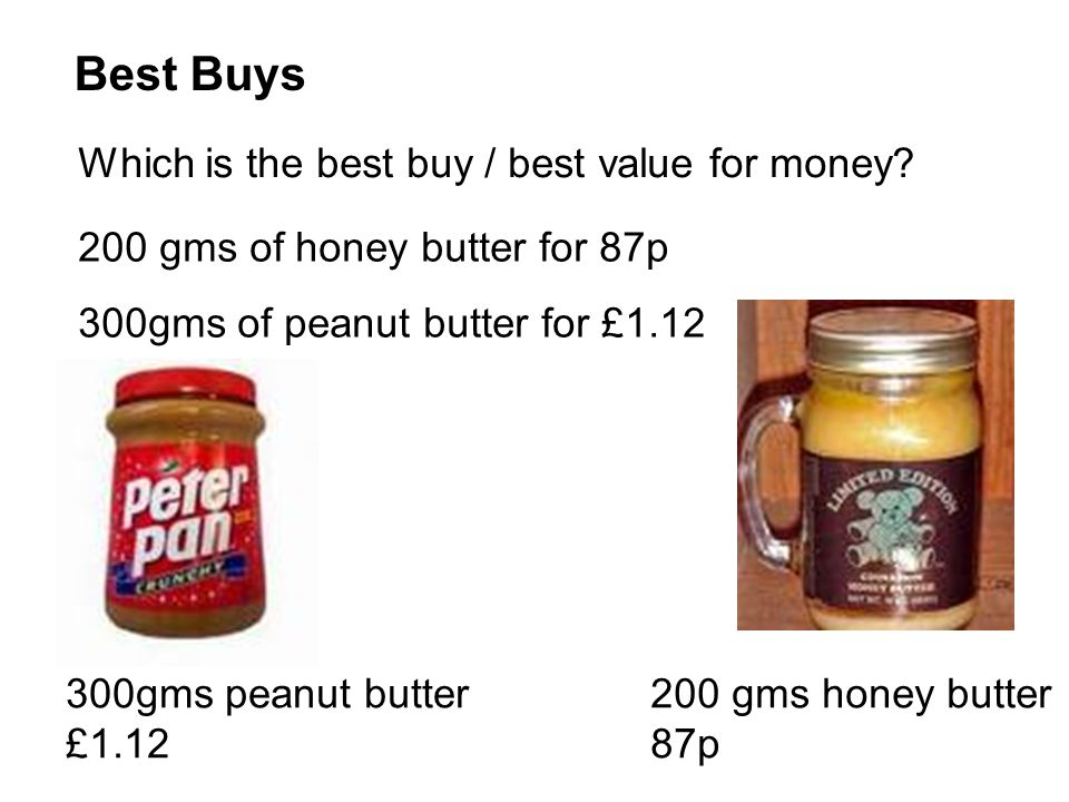 Best Buys Which is the best buy / best value for money? 200 gms of honey butter for 87p 300gms of peanut butter for £1.12 200 gms honey butter 87p 300